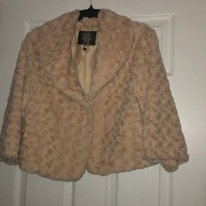 Crop blush fur jacket